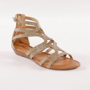 Sandales spartiates montantes pailletées - dorées