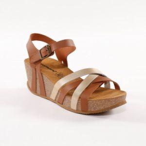 Sandale compensée cuir bicolore - marron