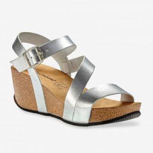 Sandales compensées cuir - argenté