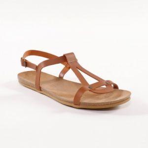 Sandales plates cuir - marron