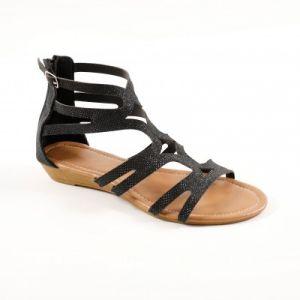 Sandales spartiates montantes pailletées - noir