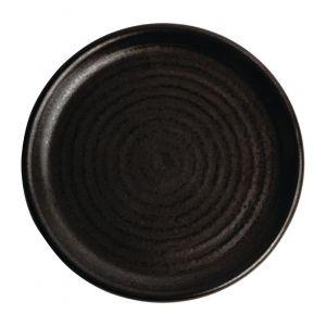 Assiettes plates noir mat Olympia Canvas 18 cm  - Lot de 6