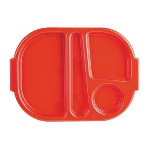 Petits plateaux repas à compartiments en polycarbonate Kristallon rouges 322mm (lot de 10) - Lot de 10