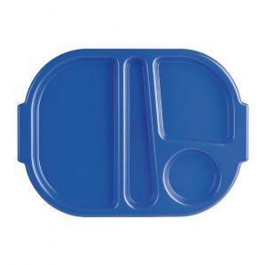 Petits plateaux repas à compartiments en polycarbonate Kristallon bleus 322mm (lot de 10) - Lot de 10