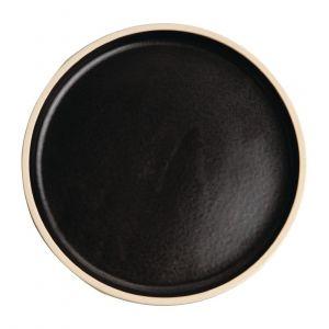 Assiettes plates bord droit noir mat Olympia Canvas 18 cm  - Lot de 6