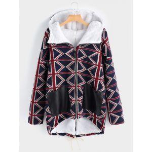 Manteau à capuche grande taille avec poches et empiècements contrastants - xl xxl 3xl 4xl