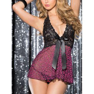 Pyjama en dentelle à mailles avec imprimé léopard rose Bowknot - s l xl