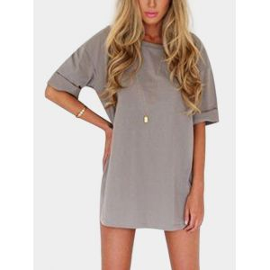 Mini-robe à encolure ras du cou grise - xs|s|m|l