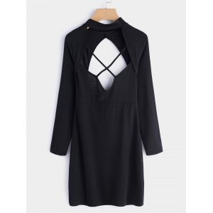 Mini-robe sans manches à encolure ras du cou noire - xs|s|m