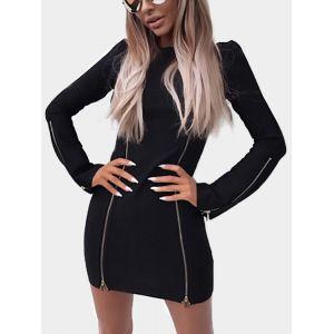 Mini-robe noire à manches longues à manches évasées - xxs|xs|s|m
