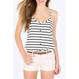 Sexy Stripe Button Design Collier rond Camis - us 2|us 4|us 6|us 8|us 10