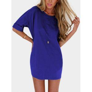 Mini-robe à encolure ras du cou bleue à manches mi-longues - s|m