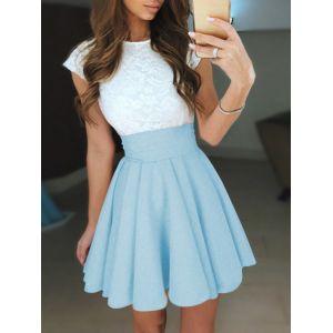 Mini-robe à col ras du cou en dentelle bleue ciel - xs|s|m|l