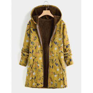 Manteau imprimé floral à grande taille avec motif à capuche jaune - xl xxl 3xl 4xl