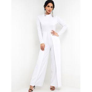 Combi-pantalon large décontracté blanc à col montant - xs|s|m