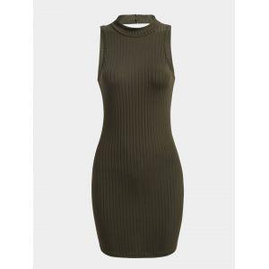 Mini robe sans manches sexy vert armée avec découpes détails - xxs|xs|s|m
