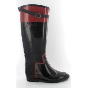 Bottes de pluie cavalières - Noir et Rouge