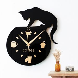 Silencieux Art Horloge Murale Mignon Chat D'escalade pour Café Home Office Room Wall Decor