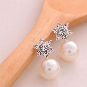 Boucles d'oreilles d'oreille à la mode en argent perle ronde Flash Boucles d'oreilles strass étoiles Silver
