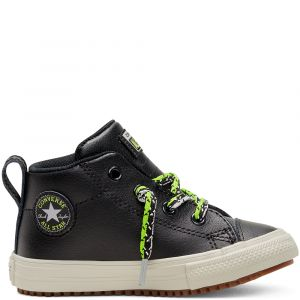 Toddlers' Double Lace Suede Chuck Taylor All Star Street Boot Mid Black/Bright Pear/Dolphin 18 (1 a 3 ans et demi)