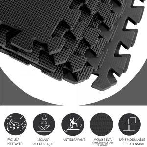 Tapis de protection Interconnectables de 1,2cm en mousse - EVA 8 carré NOIR
