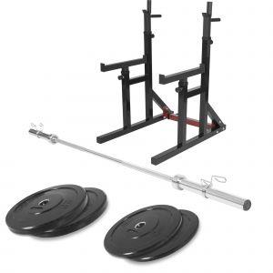 Squat rack avec barre olympique de 218cm + 30kg des poids (2x5 et 2x10) bumper en 51mm