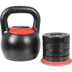 Kettlebell réglable de 8 KG à 16 KG - Version Design noir/rouge