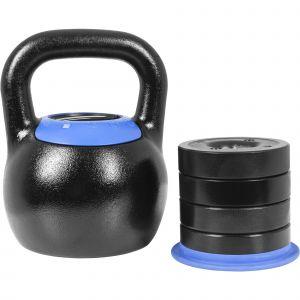 Kettlebell réglable de 16 KG à 24 KG - Version Design noir/bleu