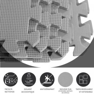 Tapis de protection interconnectables de 1,2cm en mousse - EVA 8 carré de 60x60cm gris