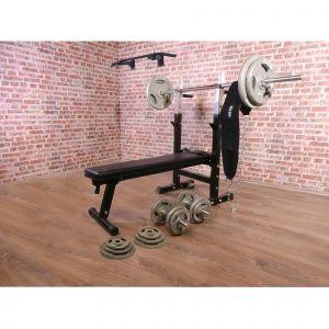 Pack de puissance 30 éléments - banc de musculation - barre de traction - poids libres