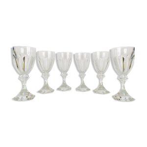 Lot de 6 verres en cristal, service Chambord, Saint-Louis,