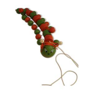 Ancien jouet bois, chenille articulée à traîner  longueur 50cm