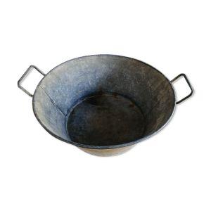 Bassine métal galvanisée cuvette cache pot