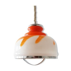 Suspension en verre orange et blanc 1970