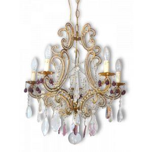 Rare lustre italien métal doré & pampilles perles gouttes 5 feux