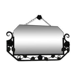 Miroir art déco avec verre taillé dans un cadre en acier
