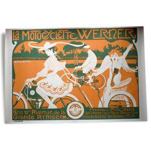 Affiche / poster publicitaire «La motocyclette Werner» d'Auguste Jean B. ROUBILLE / Ancienne affiche Art déco / Ancienne publicité Art déco