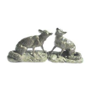 Serre-livres art nouveau les loups en bronze, sur terrasse