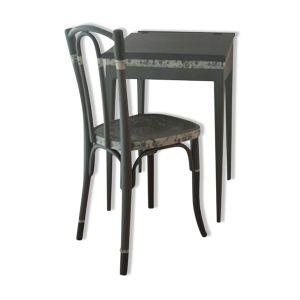 Pupitre et sa chaise gris