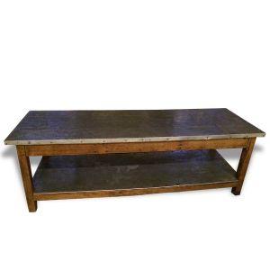 Table de tapissier en étain 250x70