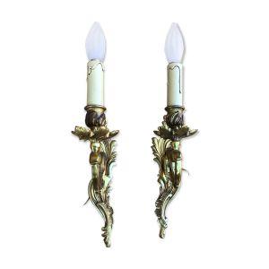 Paire Appliques pampilles cristal Louis XV bronze doré
