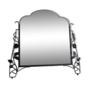 Miroir art déco avec verre taillé dans un cadre en acier 67x72cm