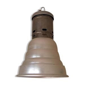 Lampe d'entrepôt SNCF en acier, fonte et alu