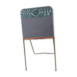 Tableau d'écolier avec boulier et rapose craies pieds en métal