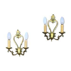 Paire d'appliques pampilles cristal Louis XV bronze doré