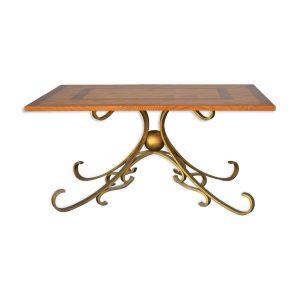 Table basse bois et fer forgé doré style 1940