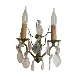 Applique en bronze à pampilles de cristal style Louis XVI