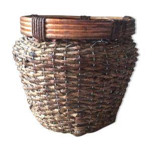 Ancien cache-pot en osier et rotin