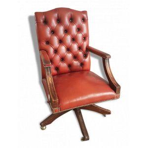 Fauteuil chesterfield en cuir rouge