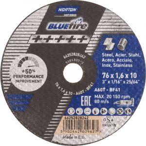 Disque à tronçonner Norton Blue Fire acier/inox Ø76 10 x 1mm